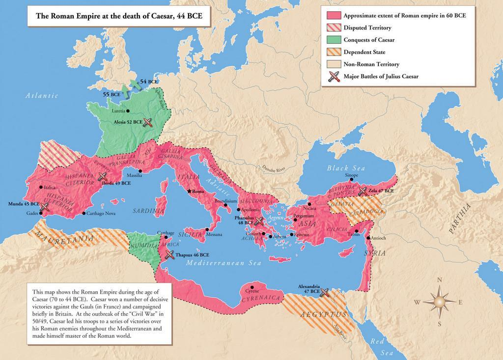 Roman Empire Map Julius Caesar